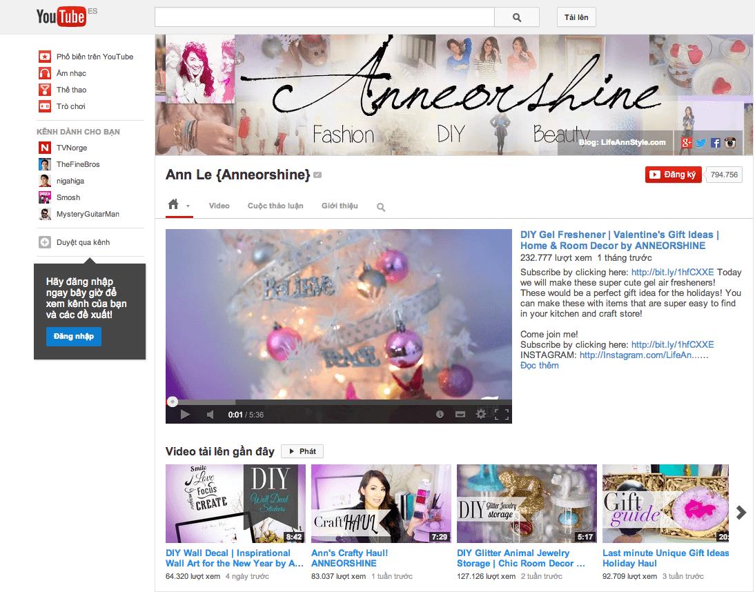 Ann Le Channel Youtube